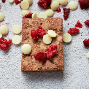 Witte choco frambozen brownie